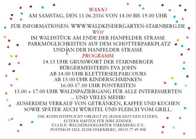 auch bei regen: waldfest und 15-jähriges jubiläum am 11. juni, Einladung